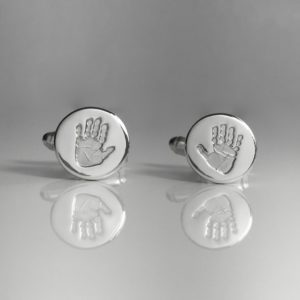 Round Handprint Cufflinks Edinburgh