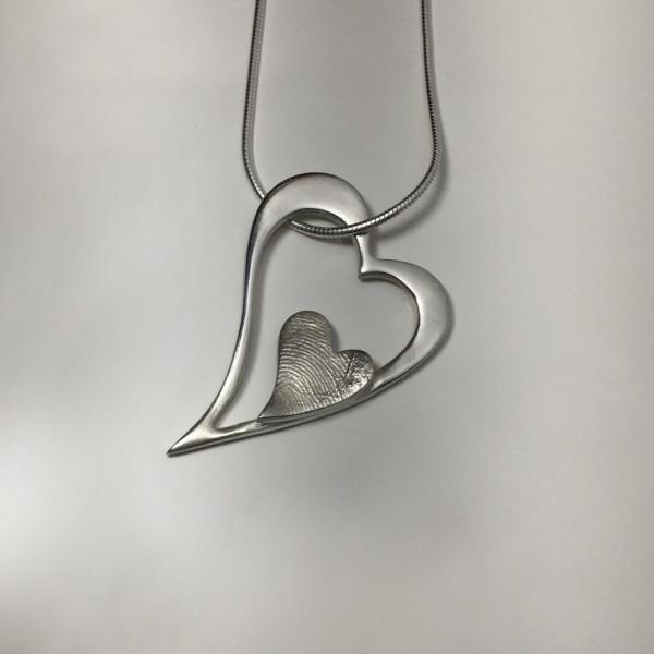 Open Heart Fingerprint Charm
