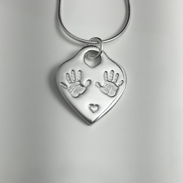 Heart Lock Handprints Necklace Edinburgh
